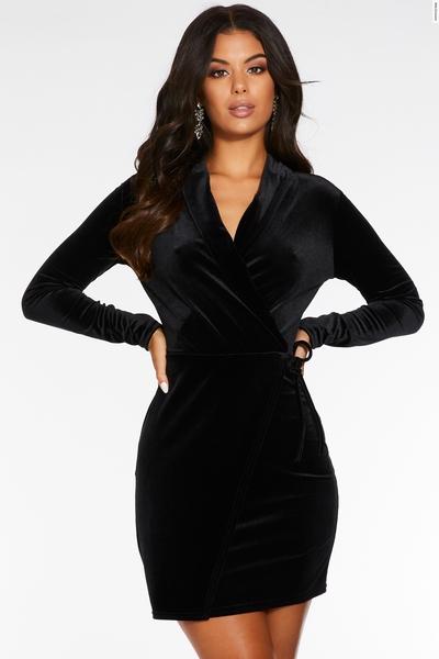 Black Velvet Long Sleeve Wrap Bodycon Dress